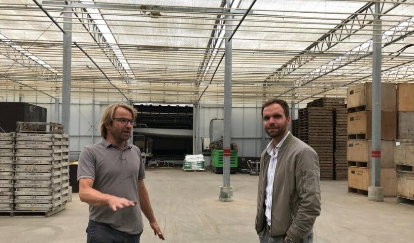 <p>CDA-kamerlid Derk Boswijk (r) op bezoek bij Van der Slot Tulips. | Foto: pr.</p>