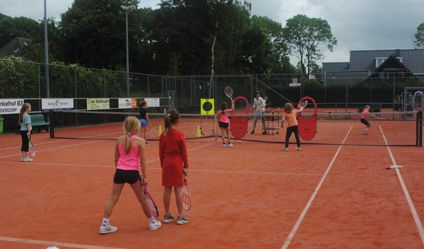 <p>Leerlingen van de Koningin Julianaschool proberen de door trainster Katja Nossik geslagen ballen te retourneren.</p>