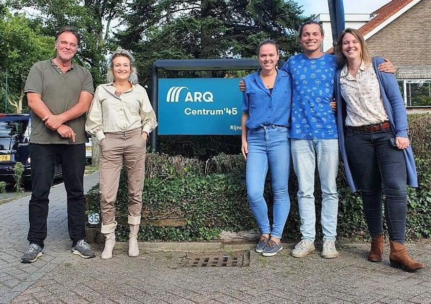 <p>Vijf van de tien lopers van Arq Centrum &rsquo;45: v.l.n.r.: Pieter Rietdijk, Floortje Aschermann, Anne Lavooij, Willem Hoek en Astrid Vinkenvleugel.</p>