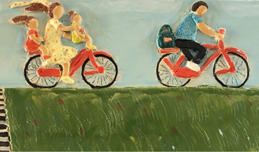 Een van zeven afbeeldingen in keramiek met het thema Dementie door Loes Dockheer, die bij Grimbergen Boeken te zien zijn in het kader van Wereld Alzheimer Dag.
