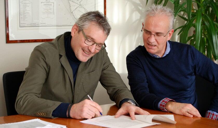 Bouke Haspels (r) en Remco Voorn kijken uit naar een succesvolle samenwerking