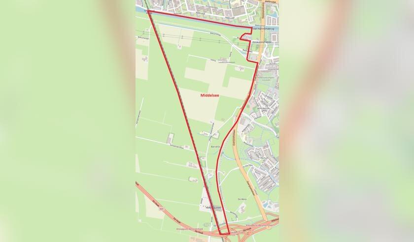 <p>De contouren van de beoogde nieuwe woonwijk Middelsee ten zuiden van Leeuwarden. Rechts op de kaart ligt Goutum.</p>