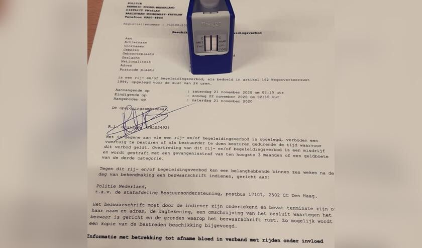 Het officiële formulier voor het rijverbod van 24 uur voor de automobilist die onder invloed van THC zwalkend over de N31 reed.