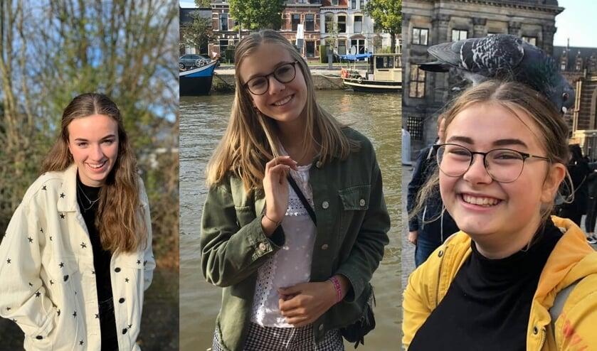 3 Friese eindexamen leerlingen. V.l.n.r Merle, Lude, Eline
