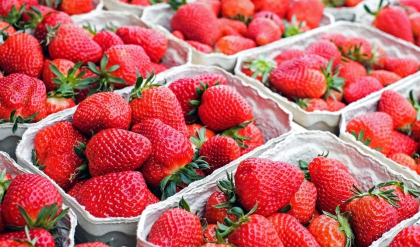 Aardbeien op de markt