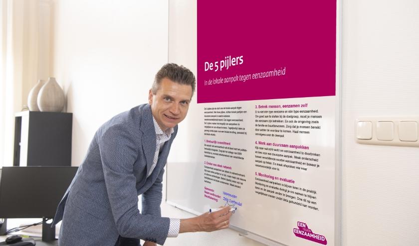 In de coronatijd met een digitale handtekening onderschrijft Jelle Zoetendal de 5 pijlers van de aanpak Een tegen Eenzaamheid.