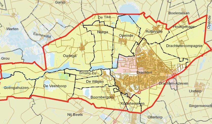 Het grondgebied van de gemeente Smallingerland.