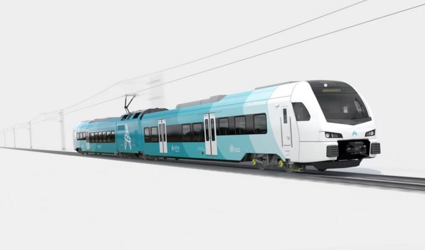 <p>Artist impression van de nieuwe treinen van Arriva.</p>