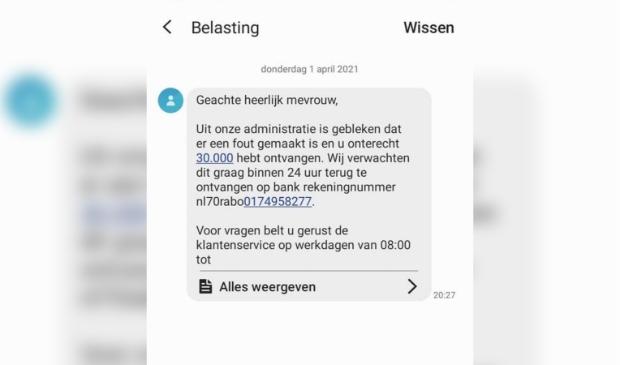 Voorbeeld van een foute sms, die niet van de Belastingdienst is maar van een oplichter.