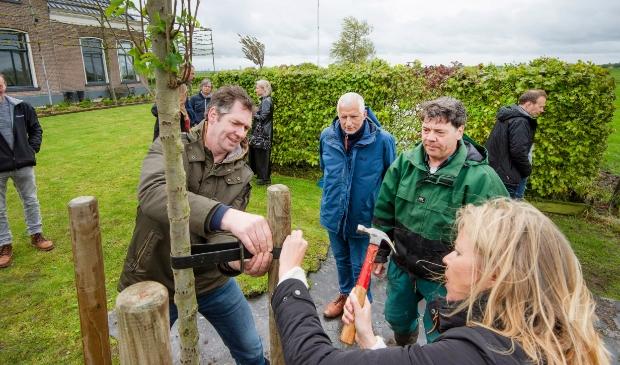 <p>Carla Boonstra, Wiebe Bouma, wethouder Wassink, Foppe van der Meer in actie bij het planten van de boom op het boerenerf.</p>