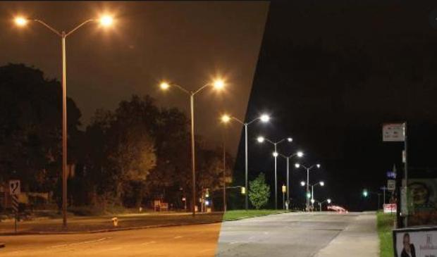 Voorbeeld van led-verlichting op de openbare weg.