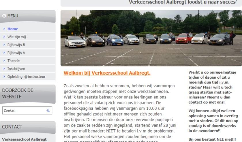 Een screenshot van de website van Verkeersschool Aalbregt.