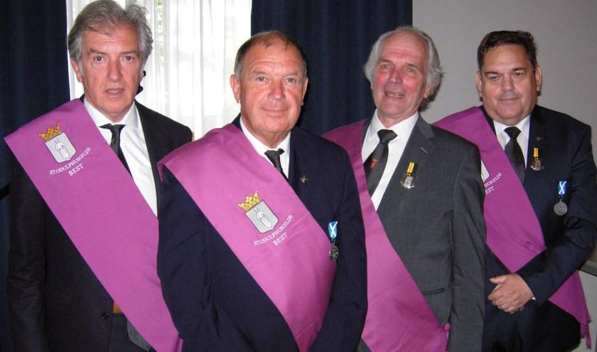 Gehuldigd tijdens de Gildedag: v.l.n.r. Jan Schepens, Harrie van de Velden, Jos Beerens en Christ van Pelt. (Foto: Fotografie Marijke)
