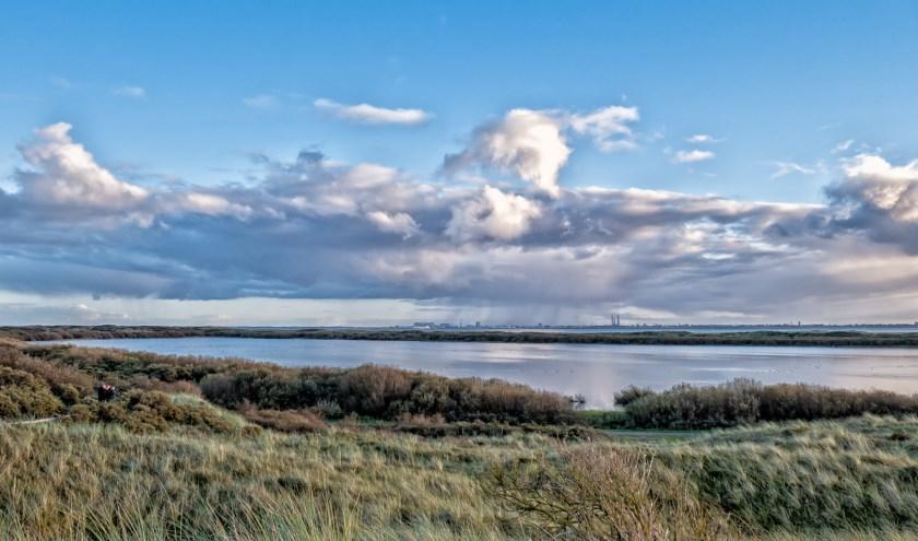 Foto van de Horsduintjes met zicht op Den Helder.
