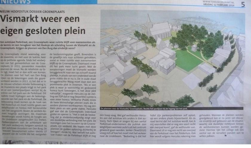 De plannen voor de Groeneplaats werden in de Texelse Courant onder meer besproken begin 2016.