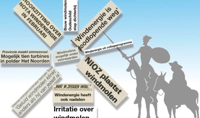 Over de strijd vóór en tegen windmolens op Texel zijn in deze krant in ruim drie decennia veel artikelen en  ingezonden brieven verschenen.