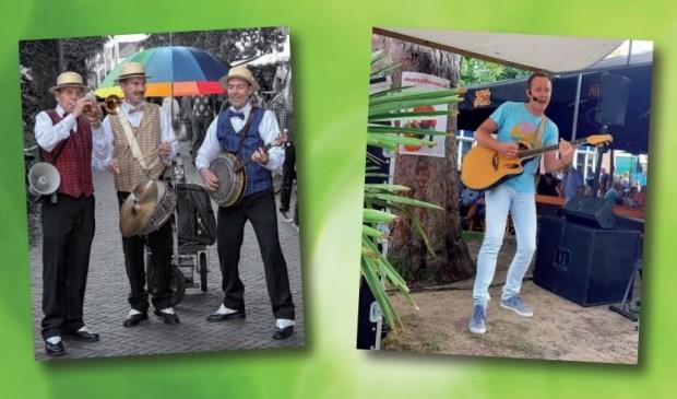 De Swingmasters en Marcel Kramer zorgen voor fijne muziek tijdens de herfstmarkt in Den Burg.
