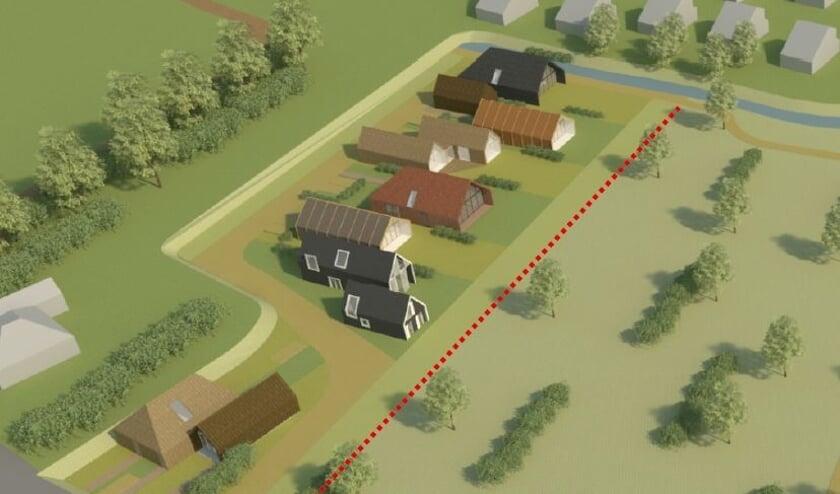 Impressie van het plan voor tien CPO-woningen langs de Boodtlaan, momenteel nog weiland.