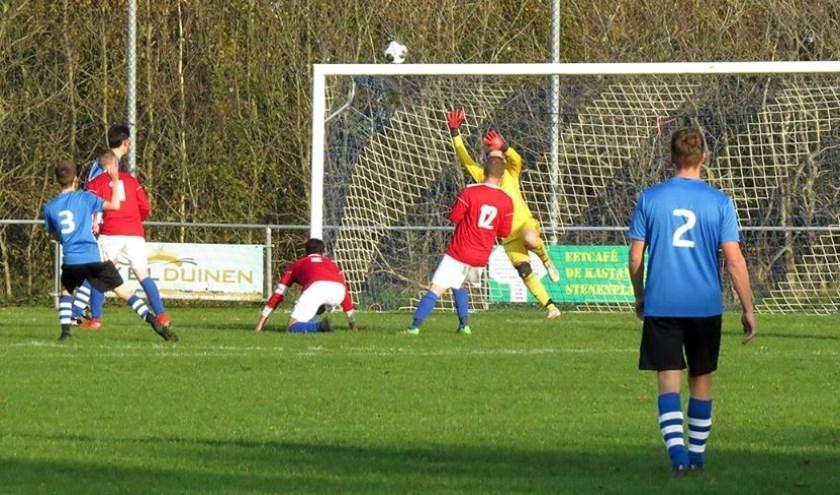 Nummer 3 Joost Boekel scoort met een geplaatst schot 1-0.