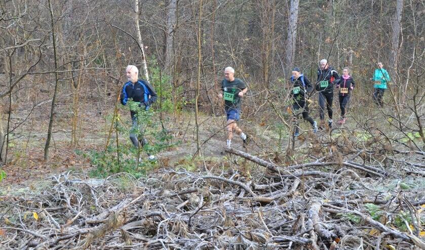 Een winters beeld tijdens de vierde boscross afgelopen zondag.