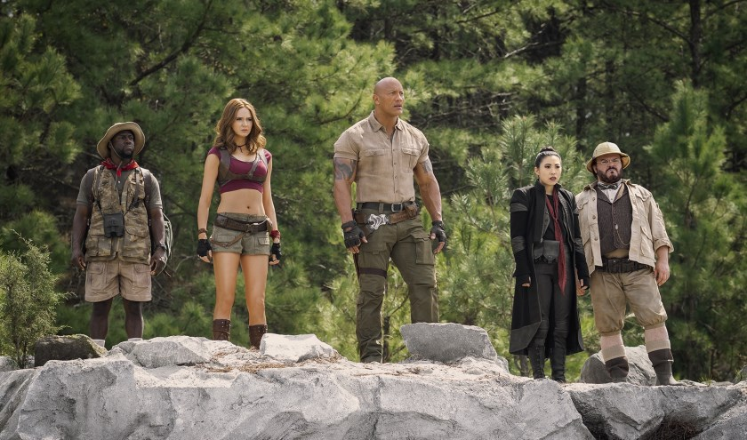 Kevin Hart, Karen Gillan, Dwayne Johnson, Awkwafina and Jack Black in Jumanji The Next Level.
