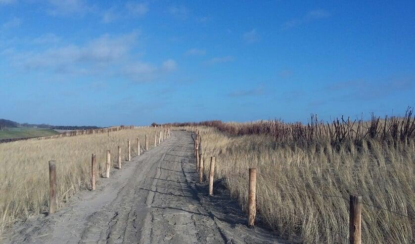 Het nieuwe pad voor het nieuwe gebied bij de PH-zanddijk.