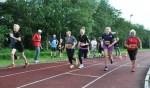 Testloop op atletiekbaan