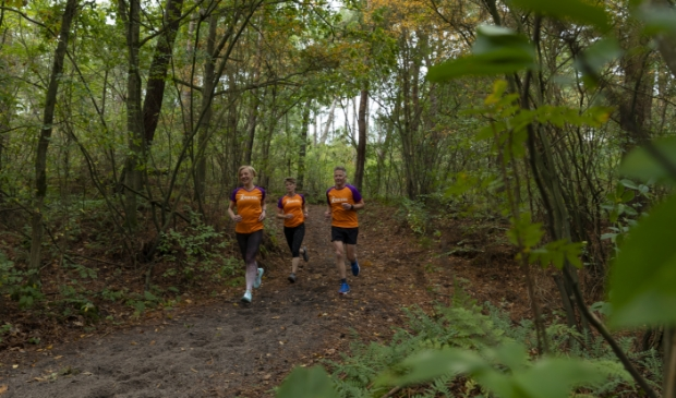 <p>Riny Roeper, Klaas-Pieter Zuidewind &nbsp;en Clementine de Wit tijdens een training in De Dennen.</p>