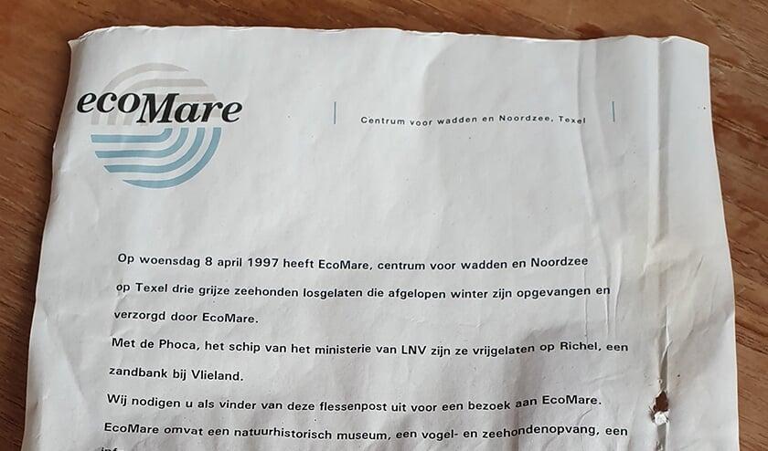 De brief uit 1997 die aanspoelde op het strand van Terschelling en gevonden werd door Remmert Ruyg.
