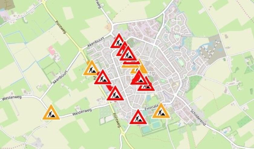 Kaartje op de website van de gemeente met een overzicht van de wegwerkzaamheden in Den Burg.