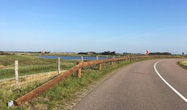 De Zaandammerdijk, ter hoogte van de uitkijkpost over Waalenburg. De heiningen zijn inmiddels weg.