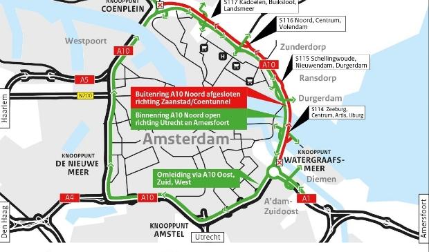 De situatie op de A10 bij Amsterdam van 31 juli tot 10 augustus.