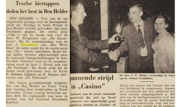 Krantenknipsels uit 1969 en 1970 over Jan Goudsblom (midden). Op de foto linksonder de Zeeuwse Anja Bal-Van Weijnen als kind op Texel.