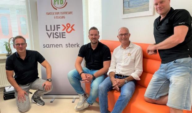 Fysiotherapeuten Lex Drop, Fridtjof Egeler, Gerard Arkenbout en Wouter Teitsma.