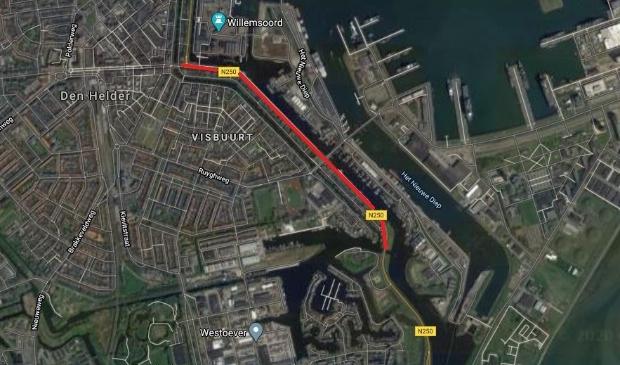 Het deel van de N250 in Den Helder dat tijdelijk dicht gaat.