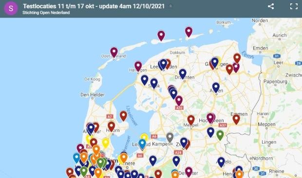 <p>De huidige kaart met locaties van &#39;Testen voor Toegang&#39;. Texel kent geen locatie meer.</p>