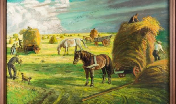 <p>Hooien op het land te Oost-Terschelling&rsquo; (ca. 1948), M. Richters. </p>