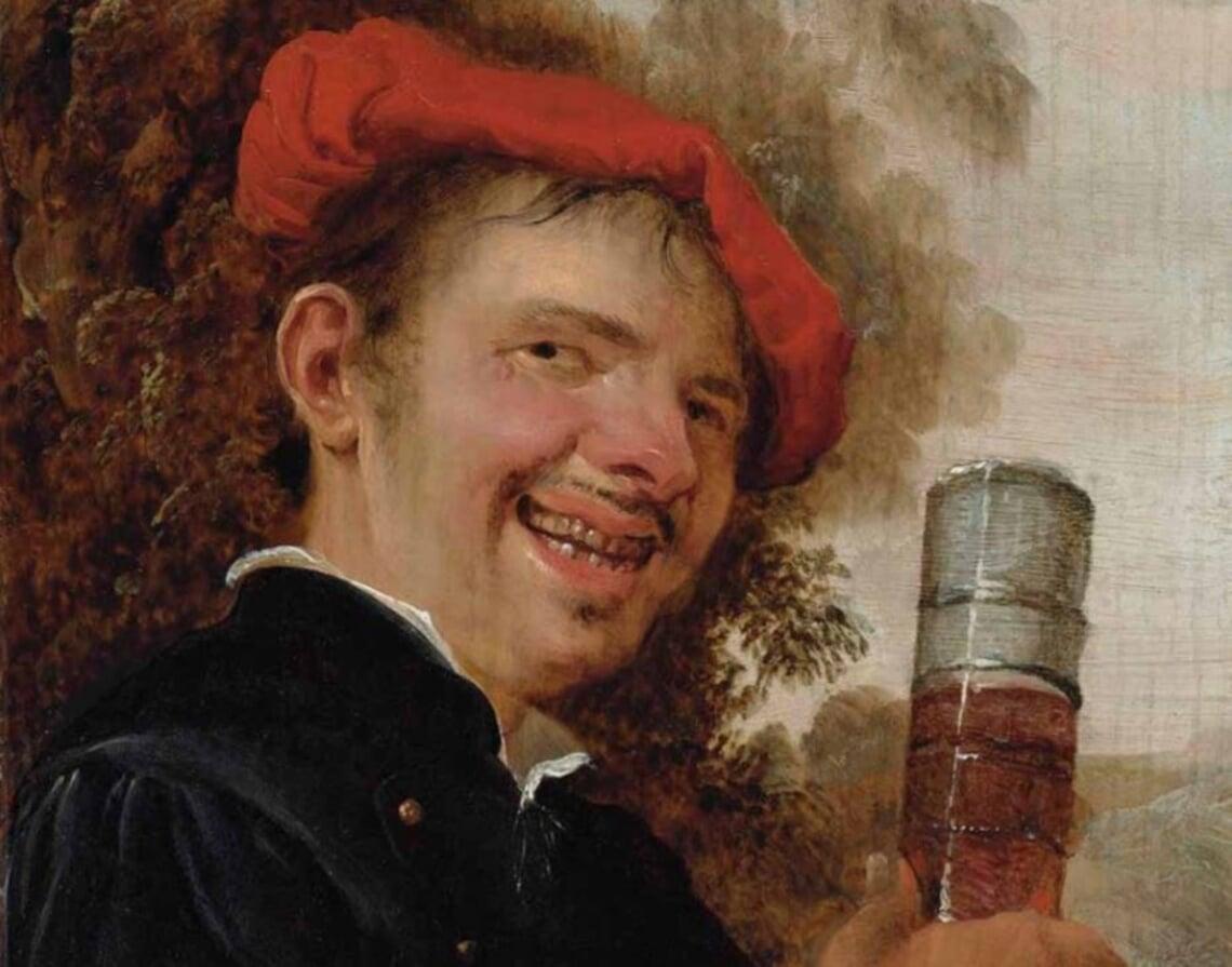 Foto: Op Petrus Staverenus' 'Lachende man met een pasglas in de hand' (1650) heeft het bier een volle schuimkraag.