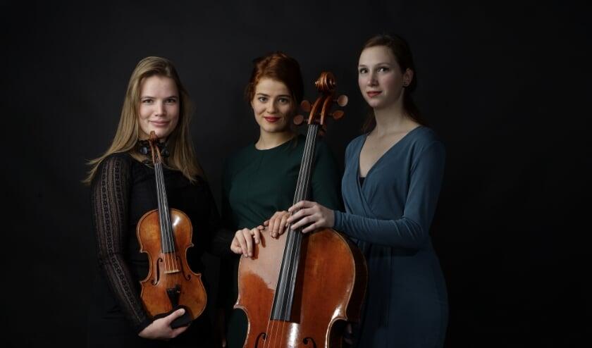 De leden van het Volkmann Trio: Coraline Groen (viool), Valentina Toth  (piano) en Jobine Siekman (cello).