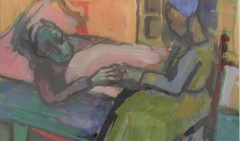Dit schilderij van Stien Eelsingh is te zien op de expositie Huidhonger in het Karmelklooster.