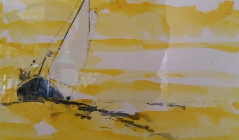 Een aquarel van Gerbina Prins-de Graaf.