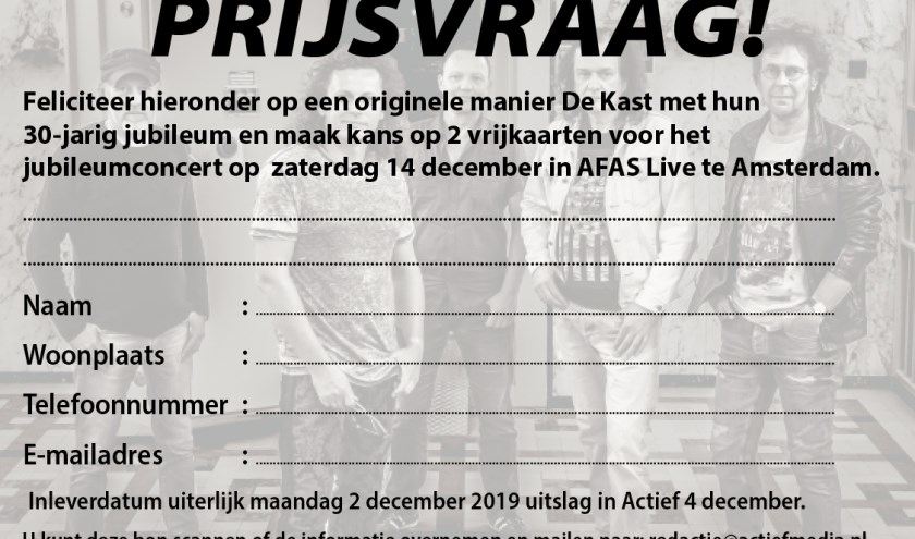 Doe mee en win een stakaart voor het concert van De Kast.