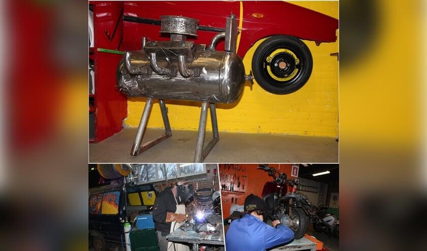 Bij Zorgsloperij De Kans in Leeuwarden kunnen deelnemers lassen en aan motoren knutselen, maar ook voor klanten mooie objecten maken.