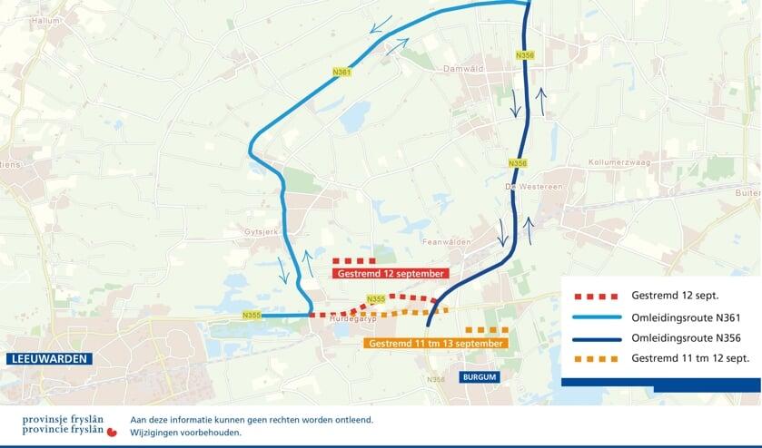 De omleidingsroute die mogelijk is, als zowel de Rondweg als de Rijksstraatweg bij Hurdegaryp zijn afgesloten op donderdag 12 september.