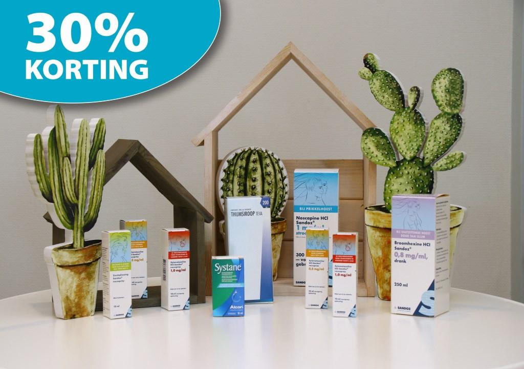 Bij inleveren van deze foto krijgt u in september en oktober 30% korting op het eigen assortiment hoestdranken, neussprays en oogdruppels voor droge ogen.  © Actief Media