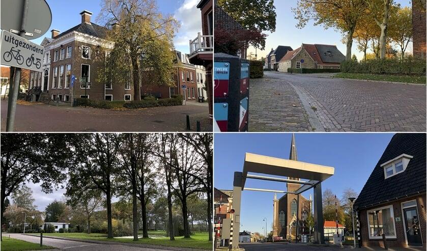 Vier van de twaalf kruispunten uit de fotopuzzel: in Kollum,Jistrum, Beetsterzwaag en Wergea.