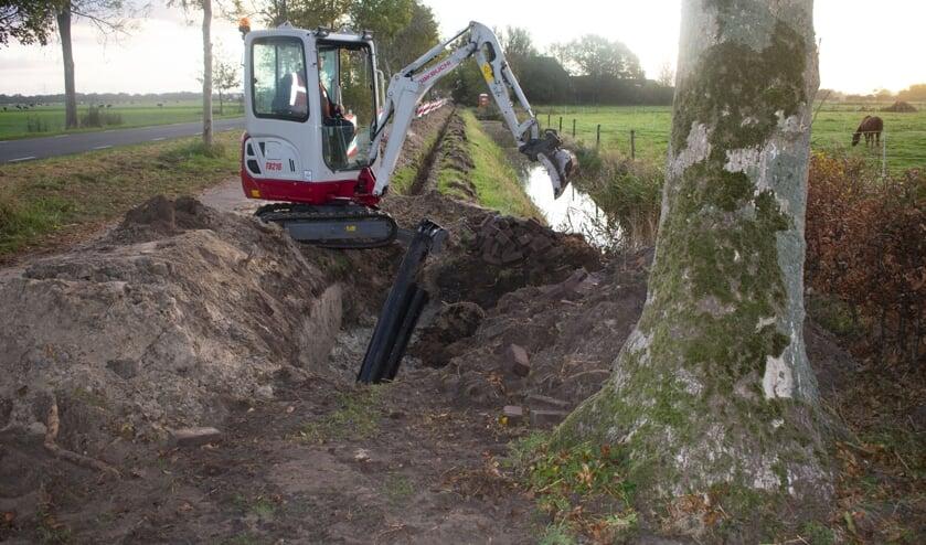 Aanleg van een zwaardere stroomkabel in de omgeving van Burgum.