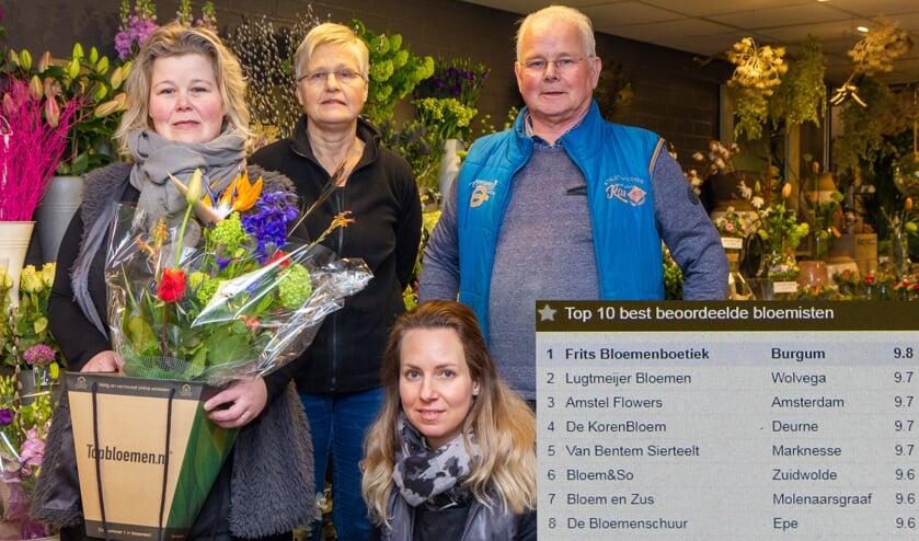 Alida, Ypie en Frits Haisma, op de voorgrond Attie van Akker. Inzet: de top 10 van Topbloemen.nl.