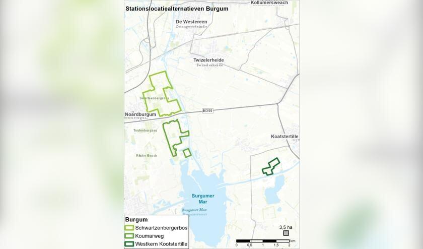 De twee locaties bij Burgum en Noardburgum en eentje bij Kootstertille.