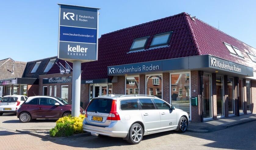 De showroom van Keukenhuis Roden. Medio september wordt de afdeling op de bovenverdieping  geopend.